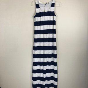 Thyme & Honey  Navy Striped Maxi Dress L